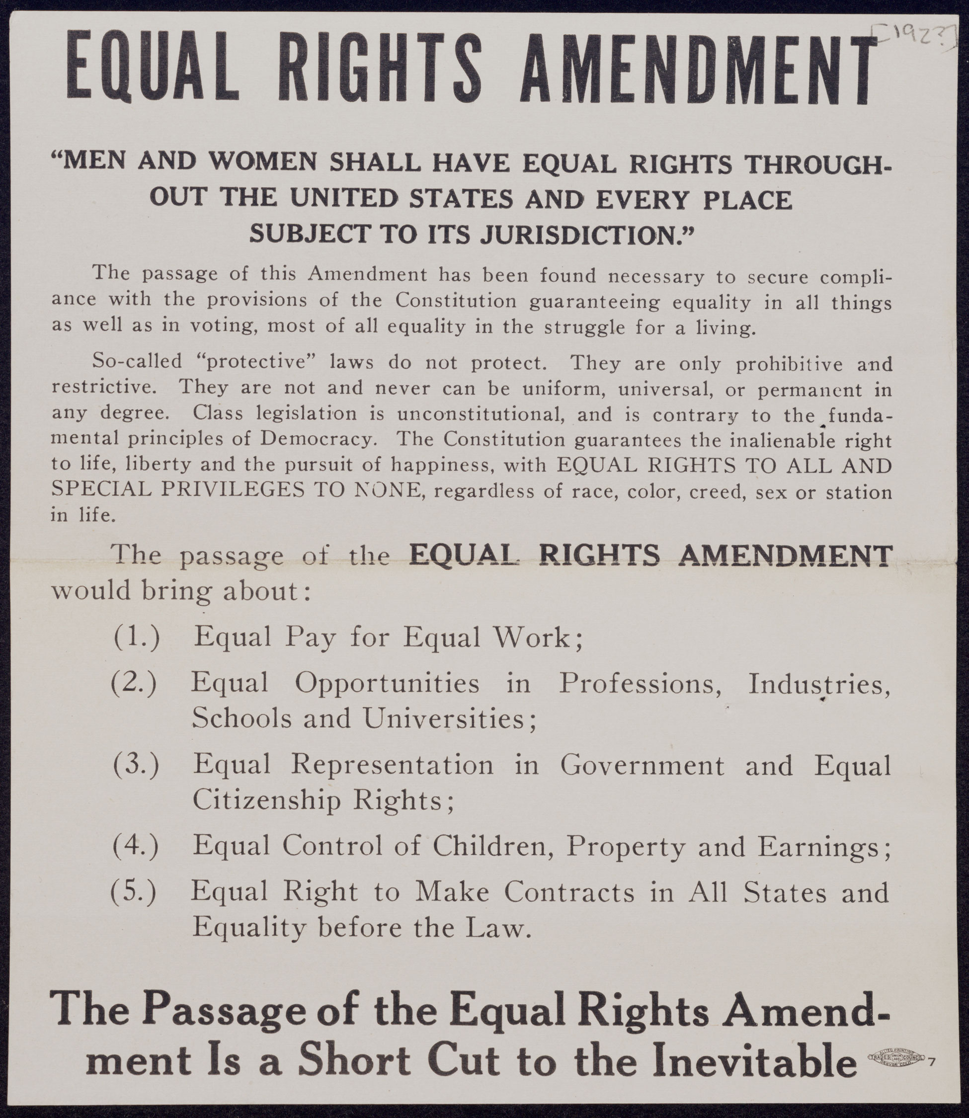 Handbill supporting the Equal Rights Amendment from the 1920s.