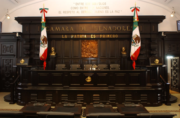 Front of the Mexican Senate chamber.