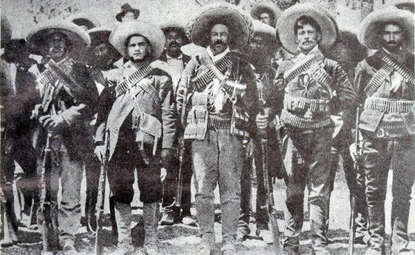 Photograph of Pancho Villa and other revolutionaries.