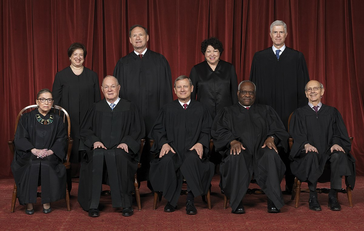 Current members of the U.S. Supreme Court (photograph from 2017).