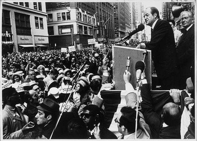 Image of Hubert Humphrey campaigning during the 1968 presidential contest.