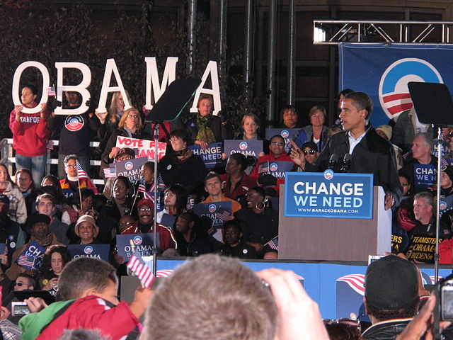 Obama at an election rally in 2008.