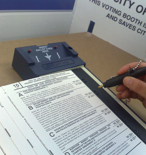 Person voting in Los Angeles, California.